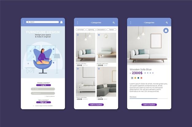 Modello di applicazione per lo shopping di mobili Vettore gratuito