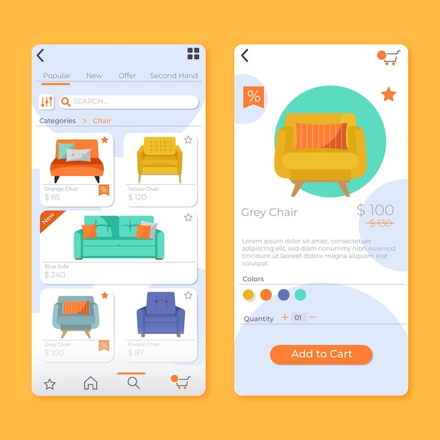 Applicazione per lo shopping di mobili Vettore gratuito