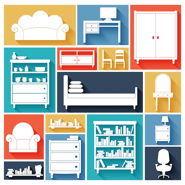 Furniture silhouettes set Free Vector