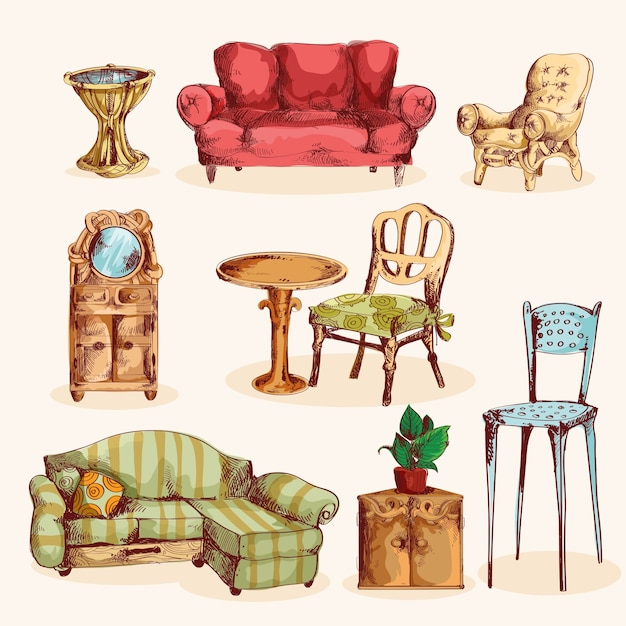 Furniture Sketch Colored Free Vector