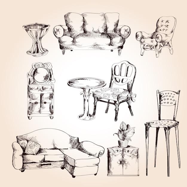 Furniture sketch set Premium Vector