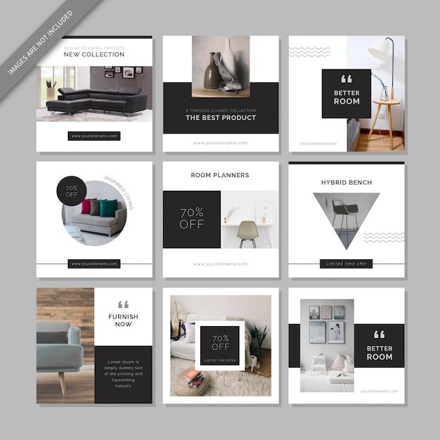 Furniture Social Media Post Template Premium Vector