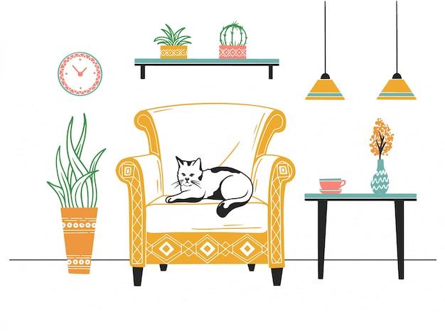Furniture and various interior items Premium Vector