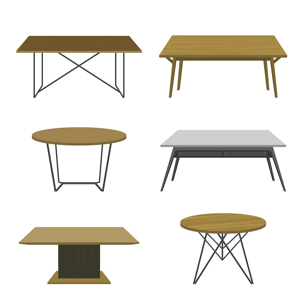 Furniture wooden table isolated vector Premium Vector