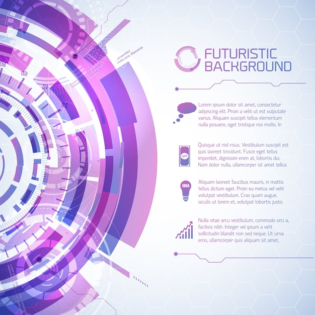Fururistic elements info background Free Vector
