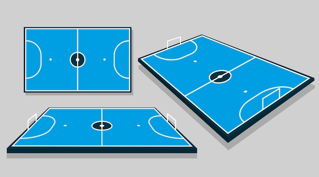 Futsal field in different perspectives Free Vector