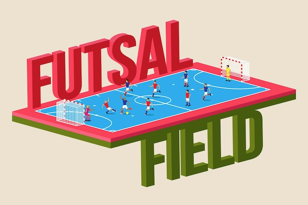 Futsal field with players Premium Vector