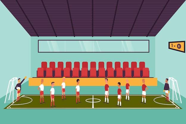 Futsal field with players Free Vector