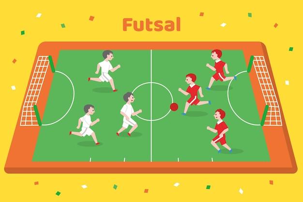 Futsal field with players Premium Vector