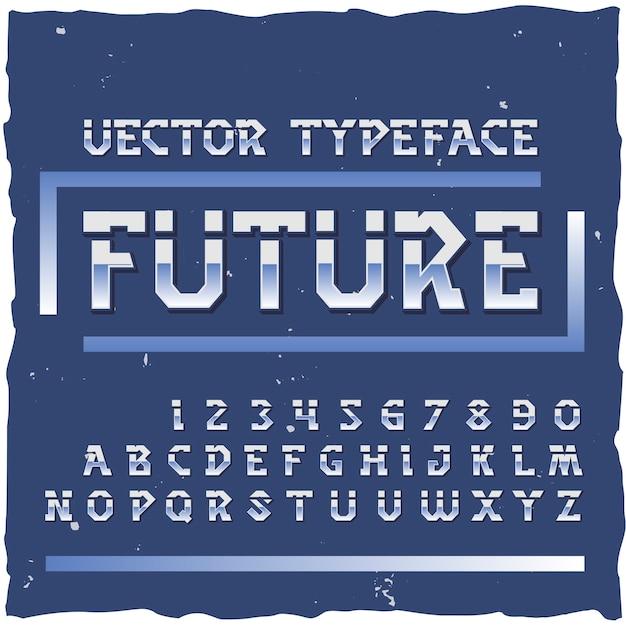 Alfabeto futuro con cifre di lettere isolate colorate in stile retrò Vettore gratuito