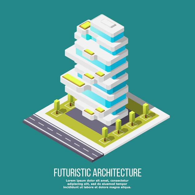 Future architecture isometric Free Vector