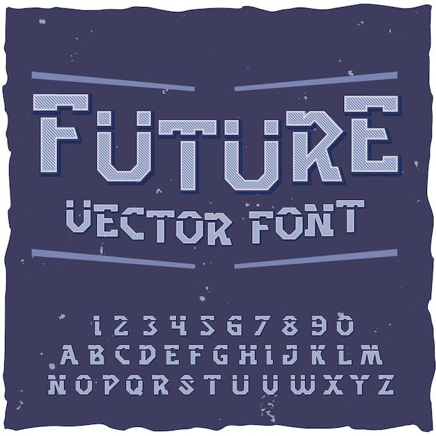 Retrofuturism 글꼴 요소 숫자와 텍스트 레이블 일러스트와 함께 문자 미래 배경 무료 벡터