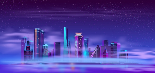 Future city on artificial island cartoon Free Vector