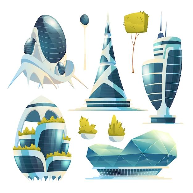 Городские здания будущего, небоскребы и деревья Бесплатные векторы