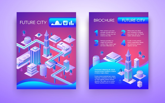Future city conceptual brochure isometric template in vibrant fluorescent colors with subway Free Vector