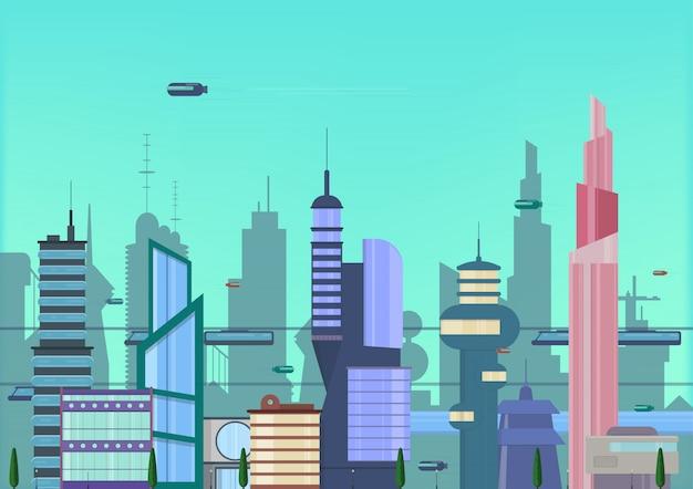 Future city flat illustration. urban cityscape template with modern buildings and futuristic traffic Premium Vector