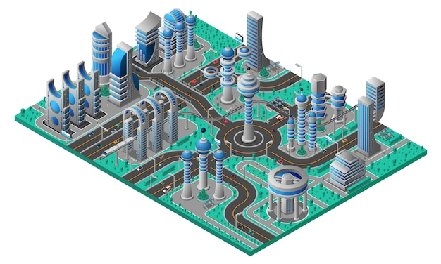 Future city isometric composition Free Vector