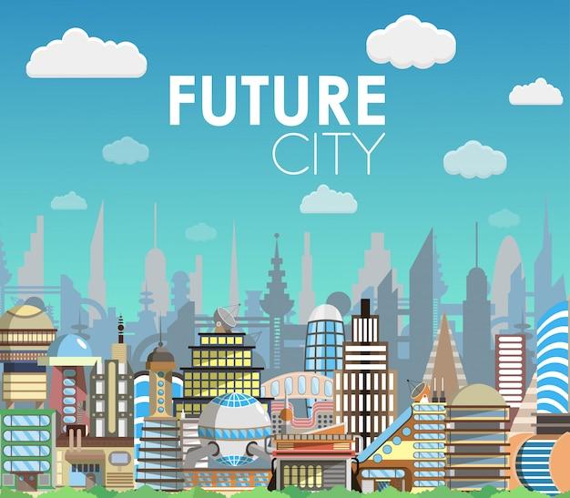 Future city landscape cartoon vector illustration. modern building set. architecture of the future. flat style design Premium Vector
