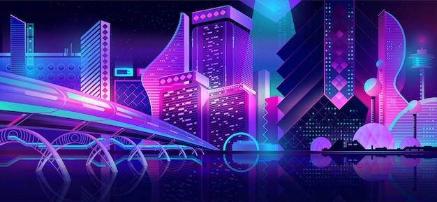 Город будущего ночной пейзаж неоновый мультфильм Бесплатные векторы