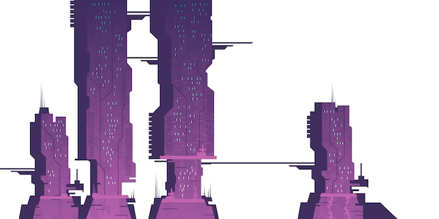 未来都市の高層ビル、サイバーパンク構造 無料ベクター