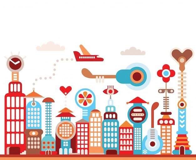 Future city Premium Vector
