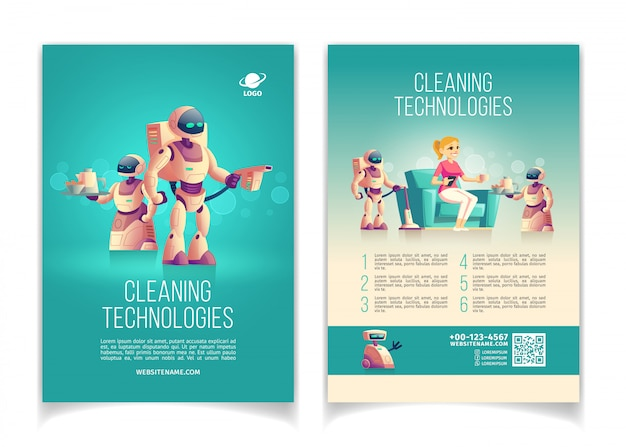 Future cleaning technologies startup cartoon Free Vector