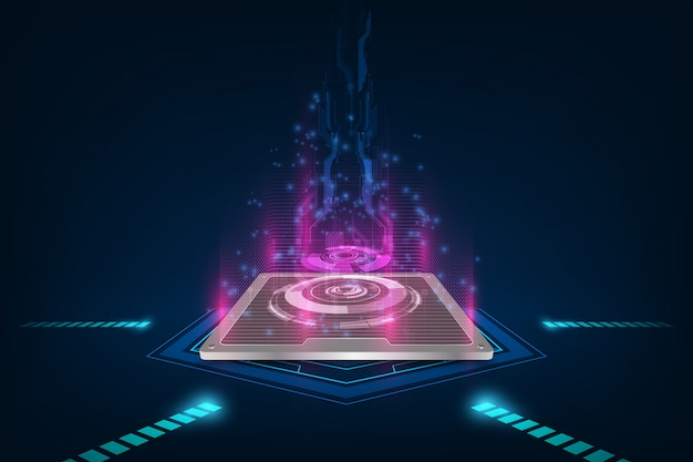 Future computer processor, electronic technology background, vector cpu generation Premium Vector