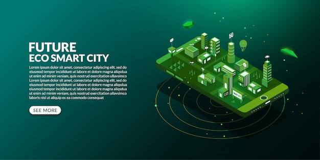 Future eco smart city with the connected metropolis in isometric design Premium Vector