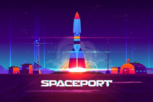 Future extraterrestrial spaceport cartoon banner. Free Vector