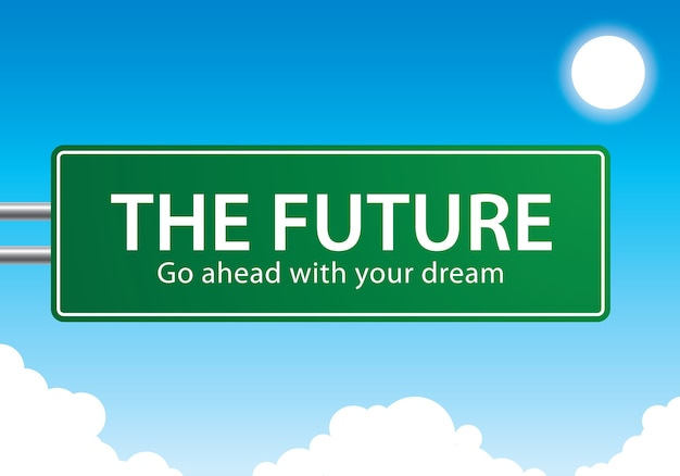 The future go ahead with your dream text Premium Vector