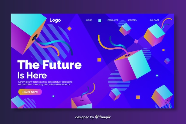 The future is here 3d geometric landing page Vector   Free