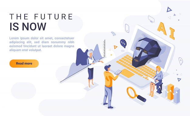 Future is now landing page banner  with isometric illustration Premium Vector