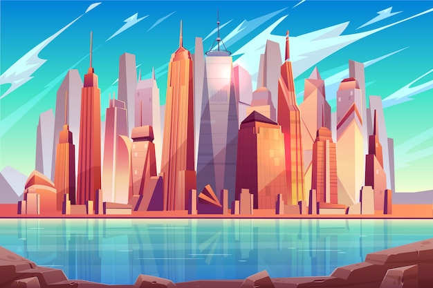 Future metropolis downtown, modern city business center cartoon  background Free Vector
