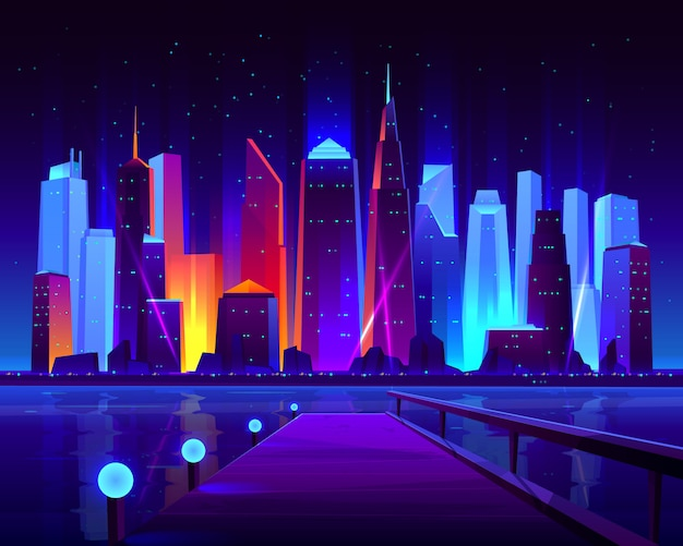 Future metropolis seafront with illuminating neon colors lights futuristic skyscrapers Free Vector