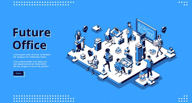 Future office isometric landing, human and robots Free Vector