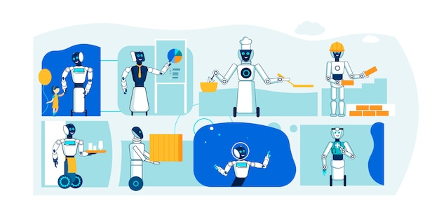 Future robot profession Premium Vector