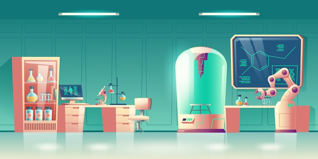 Научная лаборатория будущего, исследователь генетики человека на рабочем месте интерьер мультфильм Бесплатные векторы