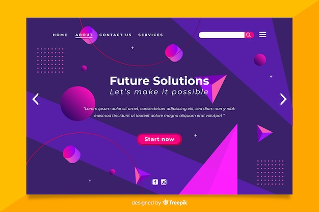 Future solution 3d geometric landing page Free Vector