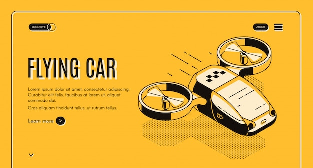 Будущее такси изометрической веб-баннер Бесплатные векторы
