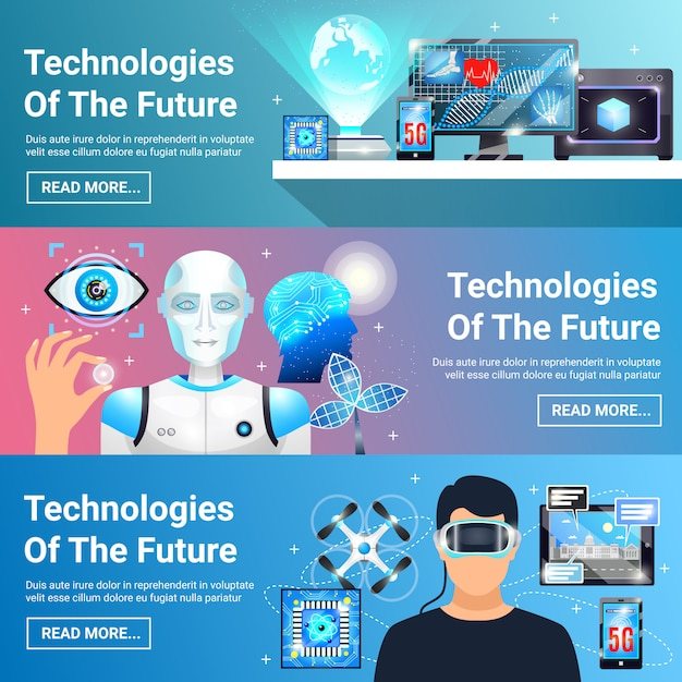 Future technologies banners set Free Vector