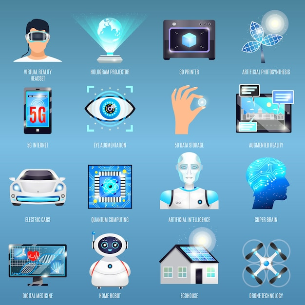Future technologies icons Free Vector
