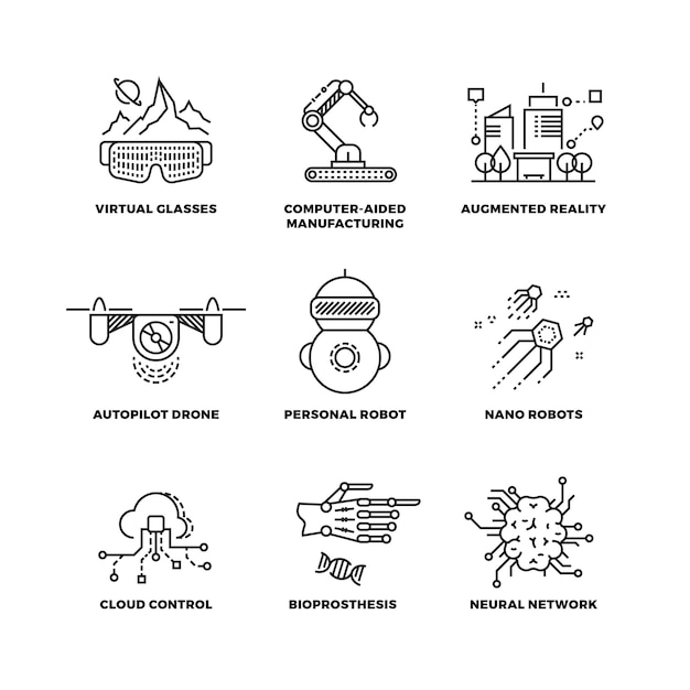 Future technology and robot artificial intelligence outline icons Premium Vector