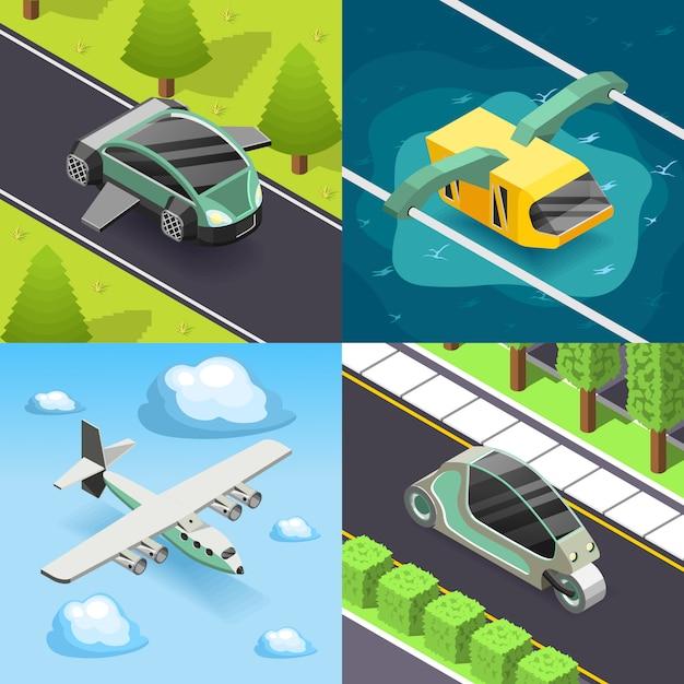 Future transport 2x2 design concept Free Vector