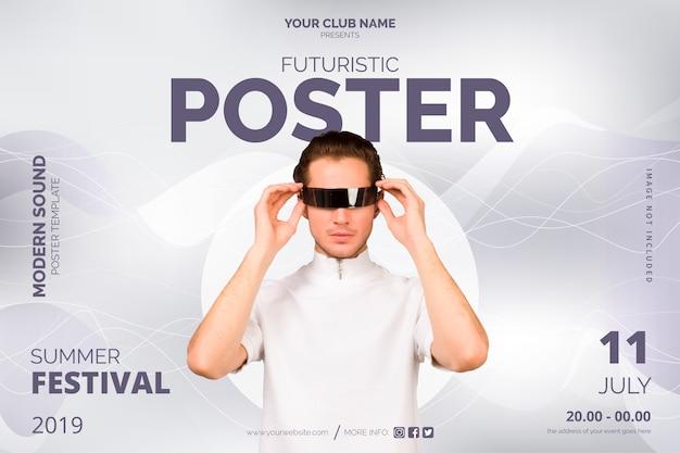 Futurist poster template Free Vector