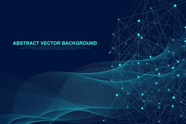 Футуристический абстрактный фон технологии блокчейн. одноранговая сеть бизнес-концепции. глобальный блокчейн криптовалюты. плавные линии, волны, точки. Premium векторы
