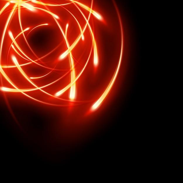 未来的な抽象的な輝く動きは、ネオンの光の曲線をぼやけています。 Premiumベクター