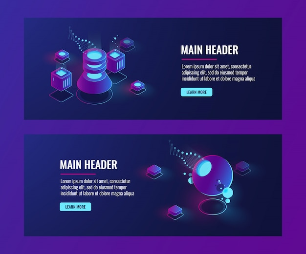 Futuristic abstract objects, banner template, server room, laboratorydata science concept Free Vector