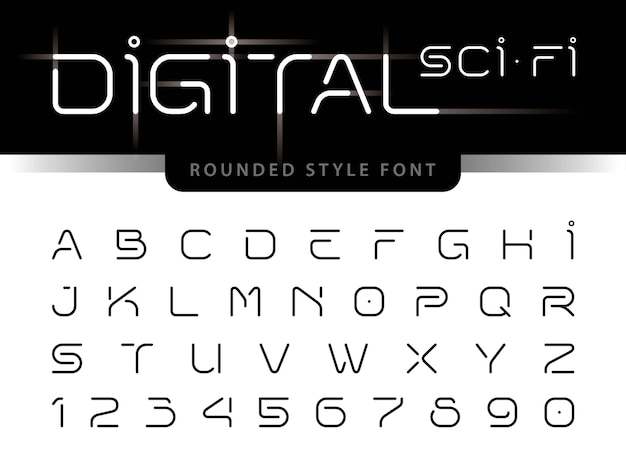 Futuristic alphabet letters and numbers, digital technology Premium Vector