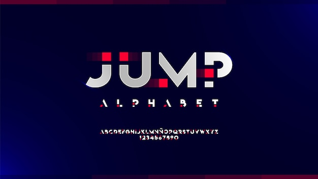 Futuristic alphabet with shiny effects Premium Vector
