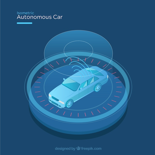 Futuristic autonomous car with flat design Free Vector